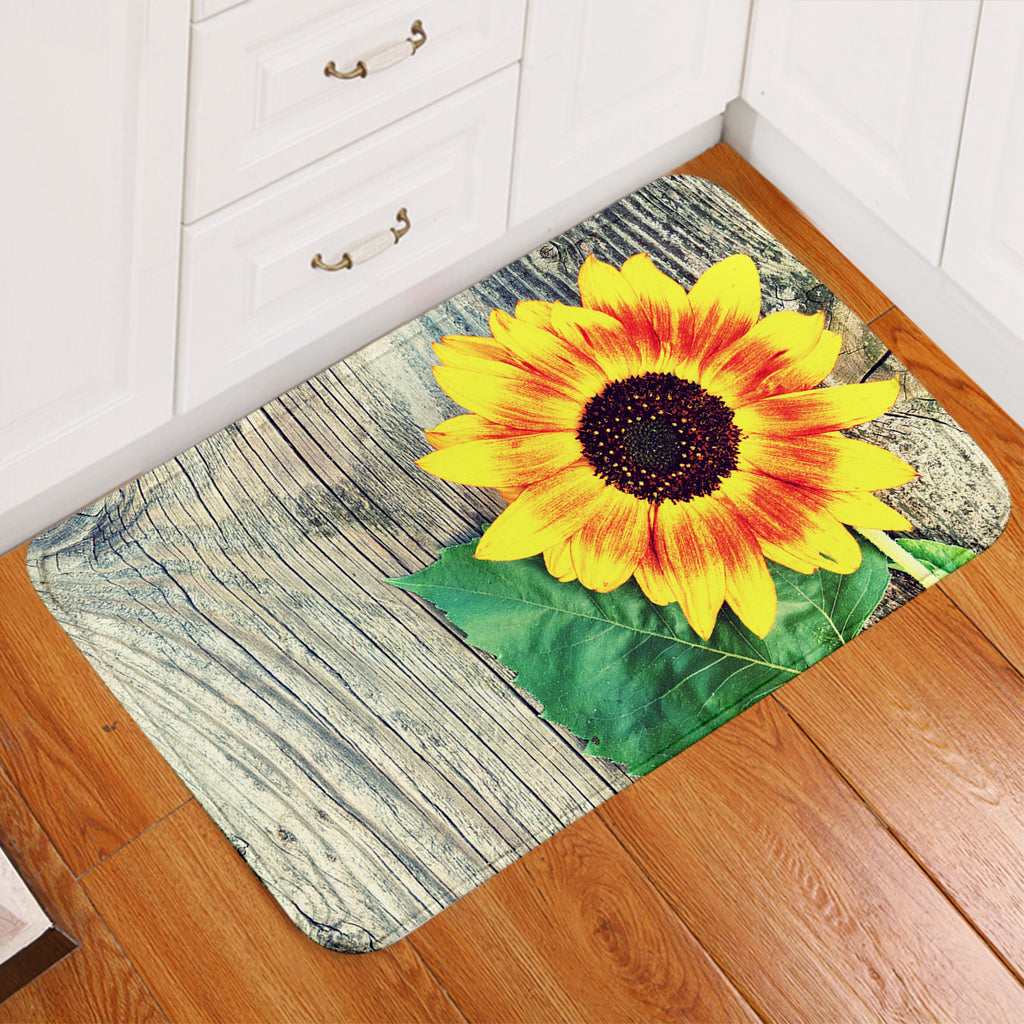 Sunflower On Wood Door Mat