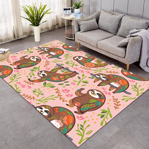 Image of Hanging Sloth Pink SW1667 Rug