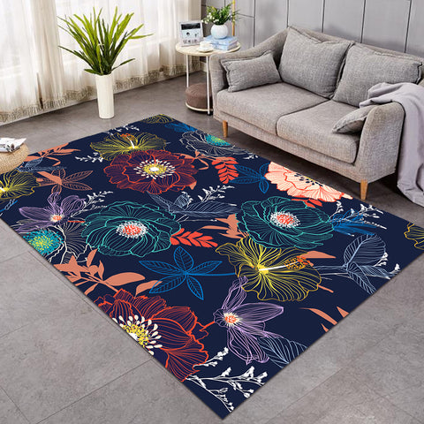 Image of Lined Flowers Dark Blue SW0643 Rug