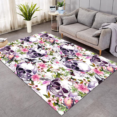 Image of Skull & Flowers SW0061 Rug