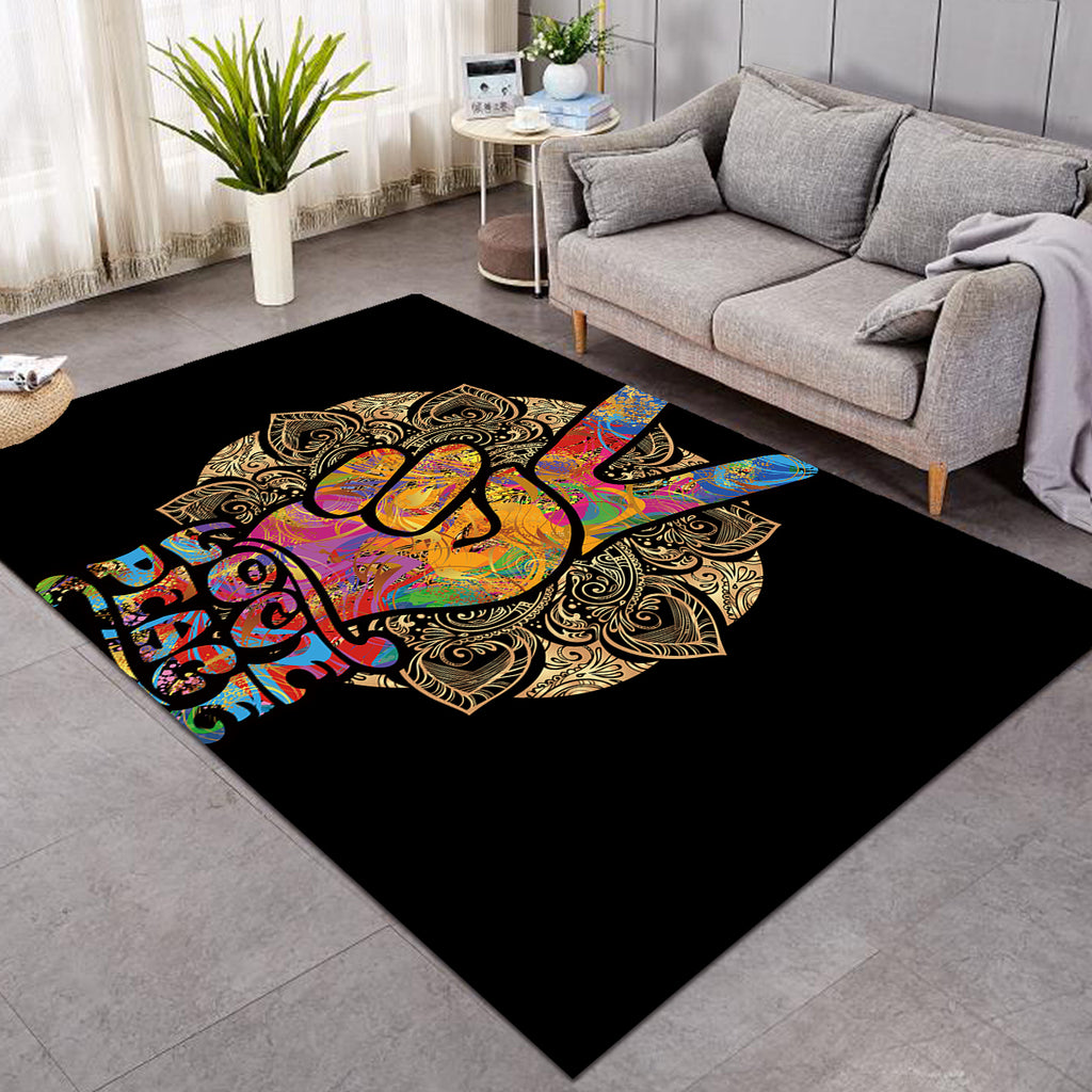 Love Peace Handsign SW0464 Rug