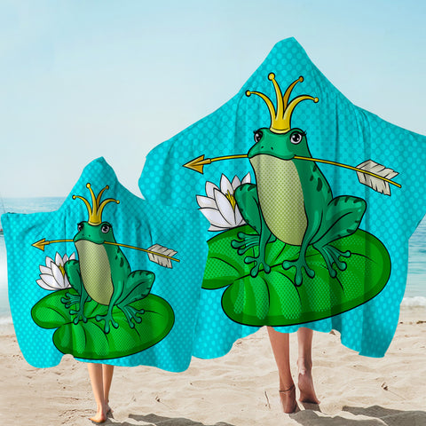 Image of Prince Frog Blue Hooded Towel