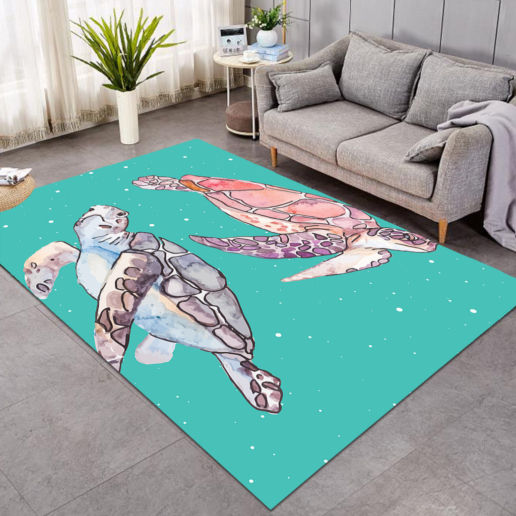 Turtles Teal Blue SW0653 Rug
