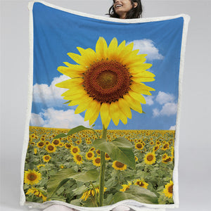 3D Sunflower Sherpa Fleece Blanket