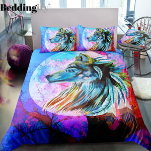Colorful Tribal Wolf Bedding Set