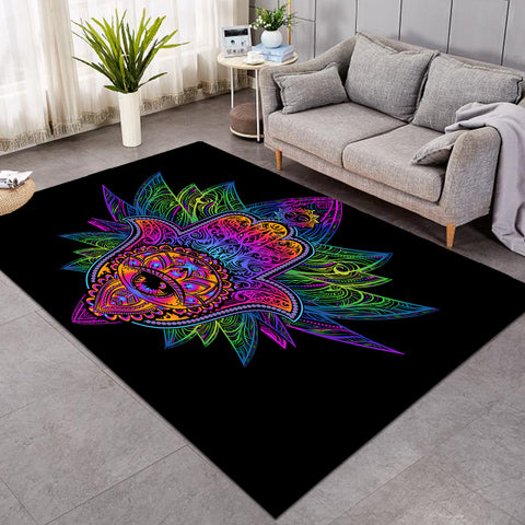 Image of The Indian Hand Hamsa Black SW0769 Rug