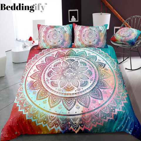 Mutilcolor Mandala Pattern Bedding Set - Beddingify