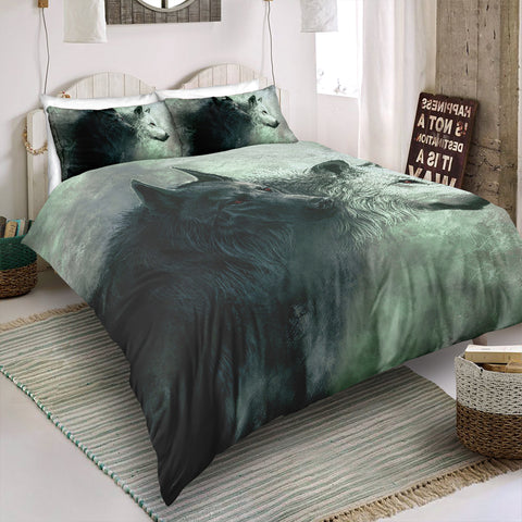 Black and White Wolves Bedding Set - Beddingify