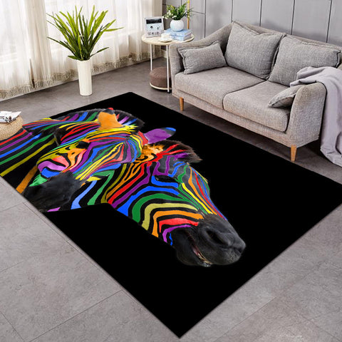 Colorful Zebra Black SW1668 Rug