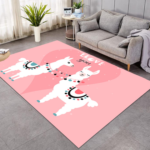 Image of Llama Love You Pink SW1666 Rug