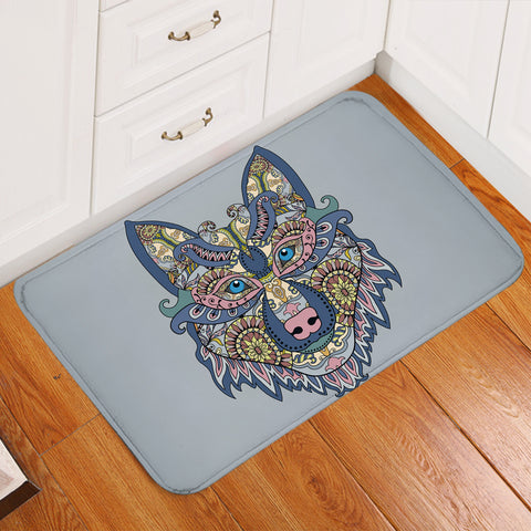 Image of Stylized Wolf Gray Door Mat