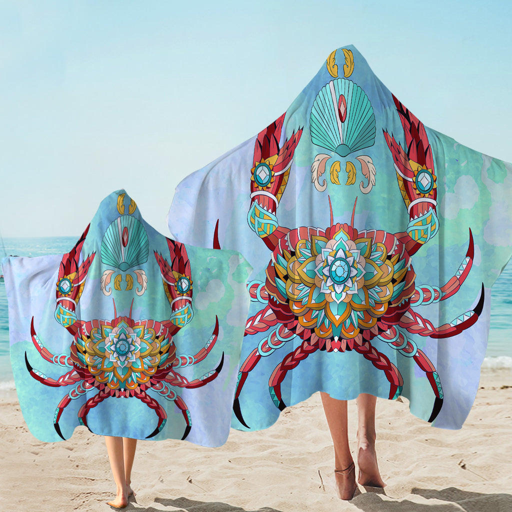Arty Crab Light Blue Hooded Towel