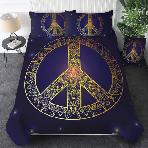 Image of Peace Sign Starry Bedding Set - Beddingify