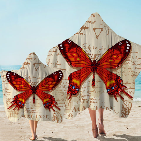 Image of Machaon Butterfly Letter SW1558 Hooded Towel