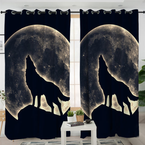 Wolfhowl Black 2 Panel Curtains