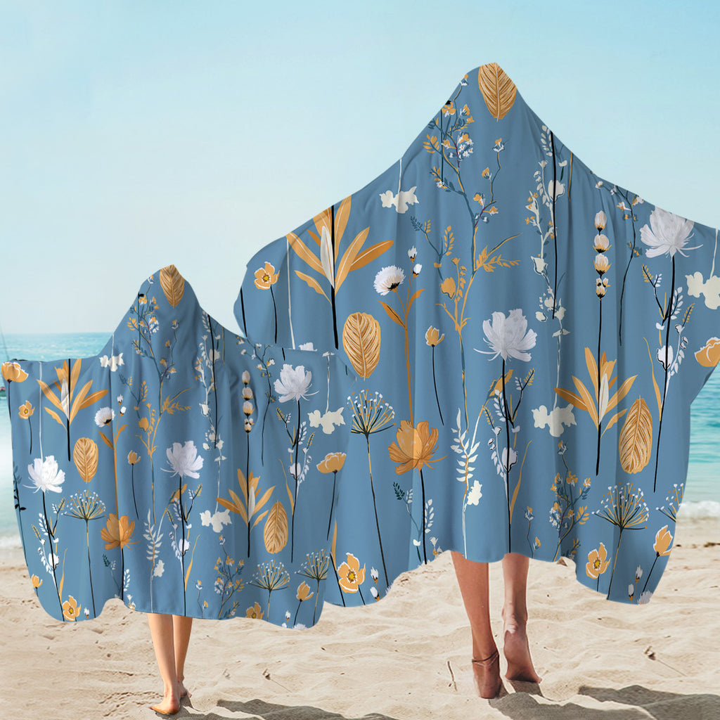 Pretty Plant Indigo Hooded Towel