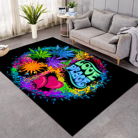 Image of Love & Peace Black Snow SW0304 Rug
