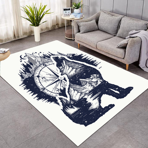 Image of Snow Wolf Compass SW0041 Rug