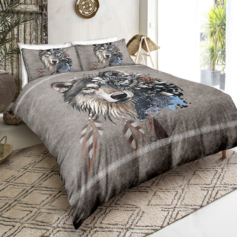 Native Indian Mystic Wolf Bedding Set - Beddingify
