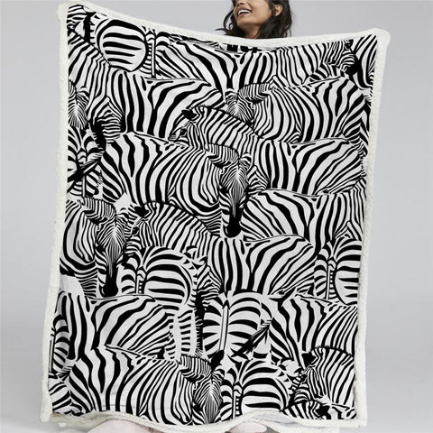 A Dazzle Of Zebra Sherpa Fleece Blanket