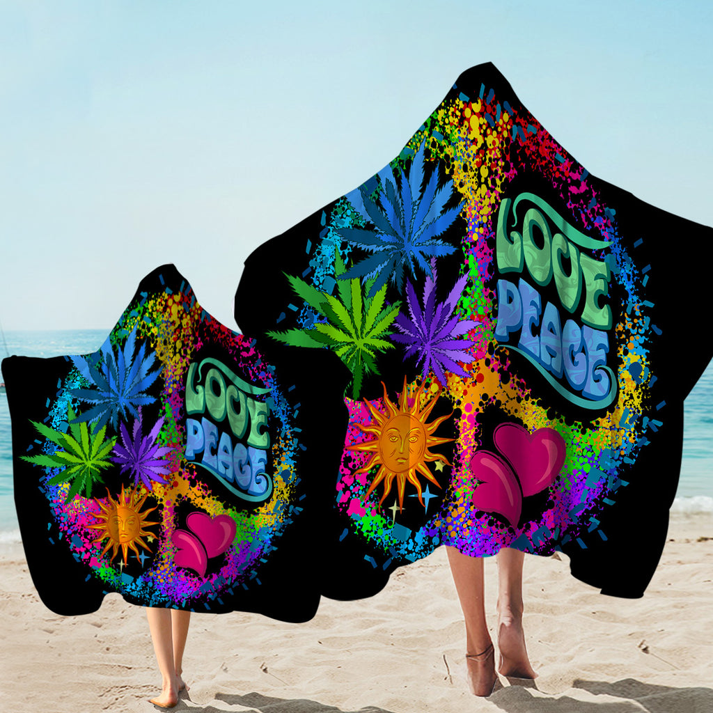 Love & Peace Black Hooded Towel