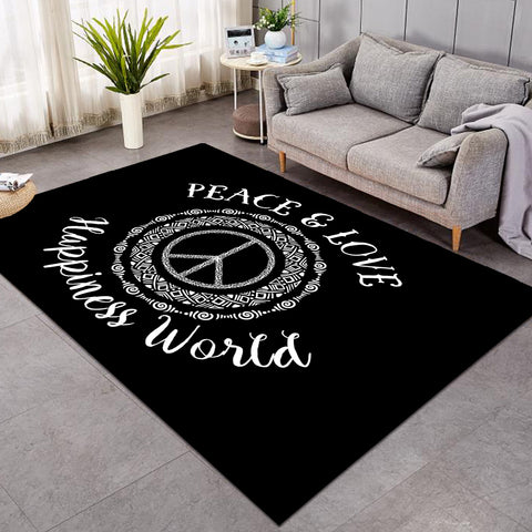 Image of World Peace & Love Black SW0502 Rug