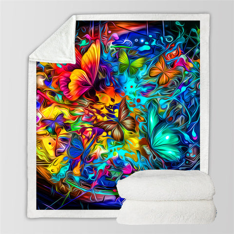 Image of Hippie Butterfly Sherpa Fleece Blanket