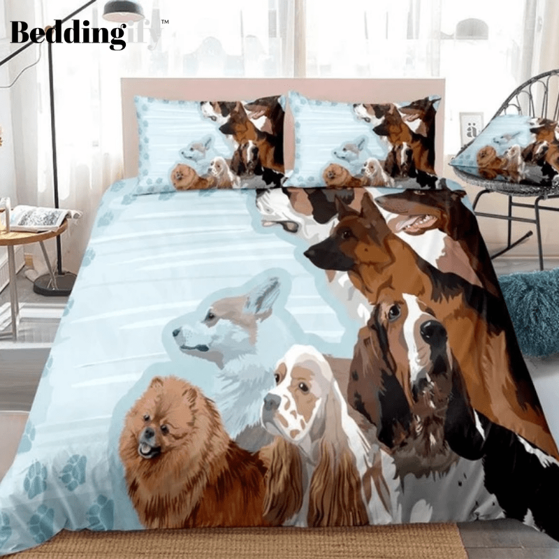 Dogs Blue Bedding Set - Beddingify