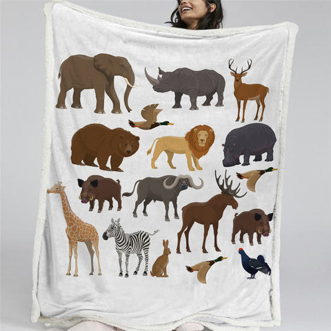 African Fauna White Sherpa Fleece Blanket