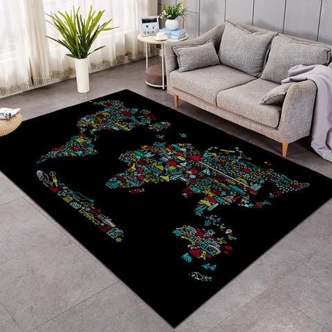 Iconic Continents Black SW0473 Rug