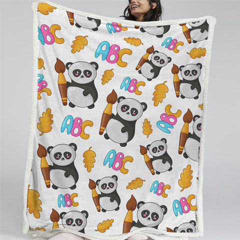 ABC Panda Patterns Sherpa Fleece Blanket