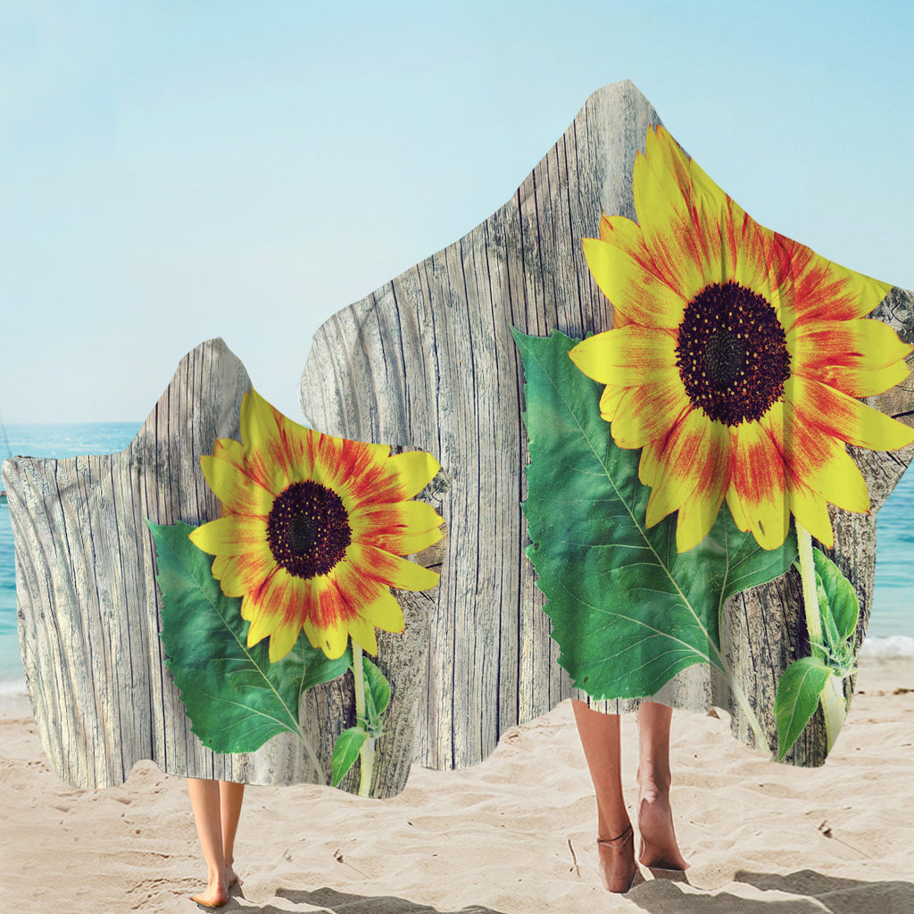 Sunflower On Wood Hooded Towel
