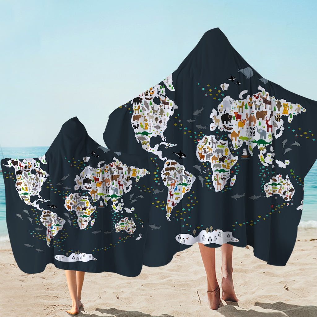 World's Fauna Population Hooded Towel
