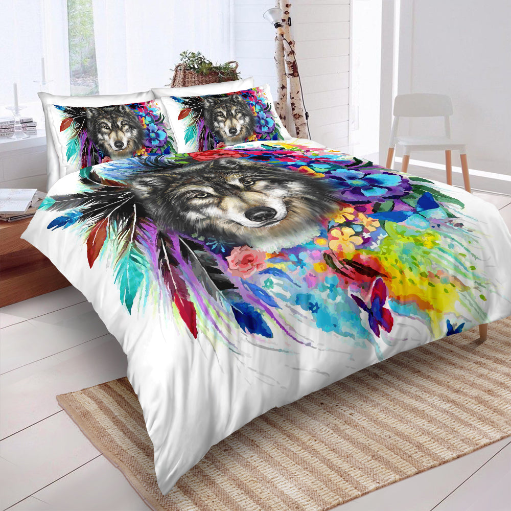 Mutilcolor Tribal Wolf Bedding Set - Beddingify
