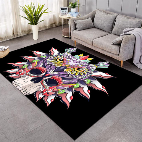Image of Arty Owl Black SW0467 Rug