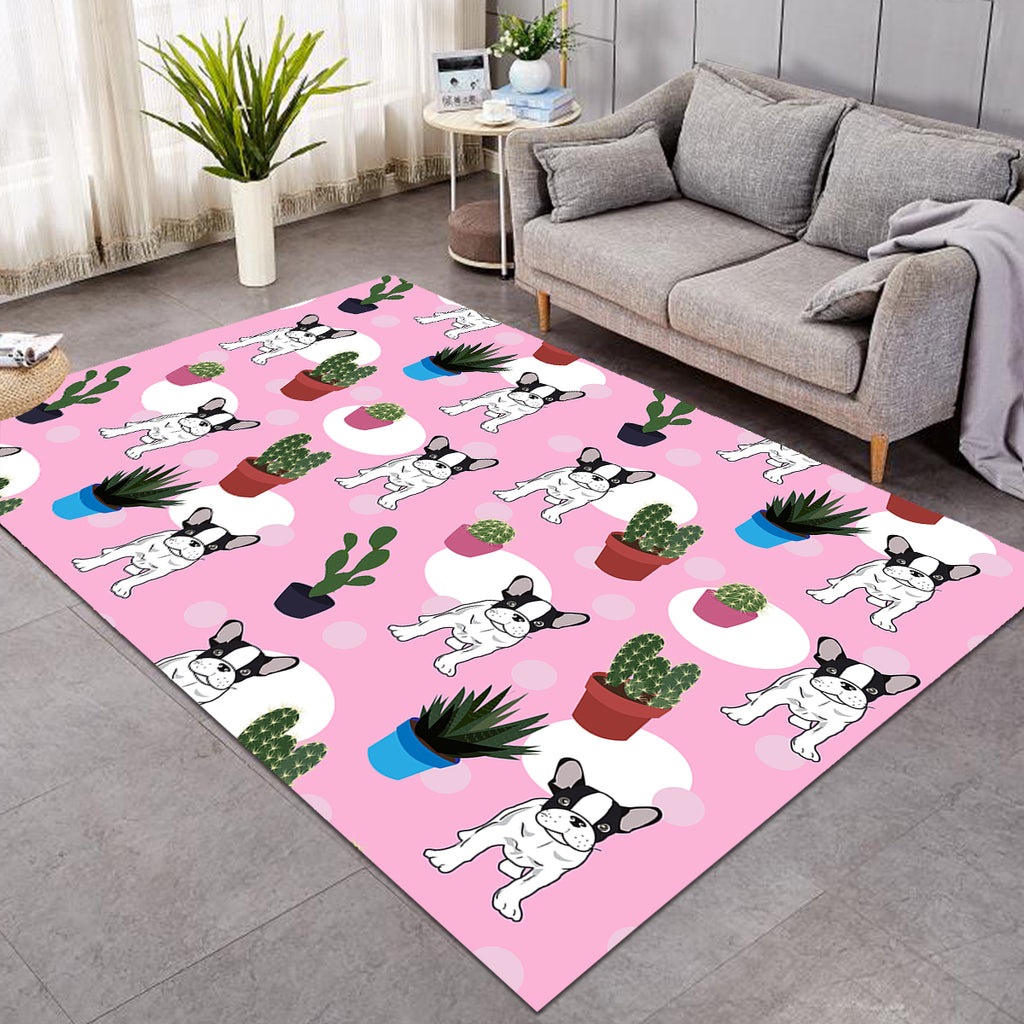 Pup & Cacti Pattern Pink SW0513 Rug