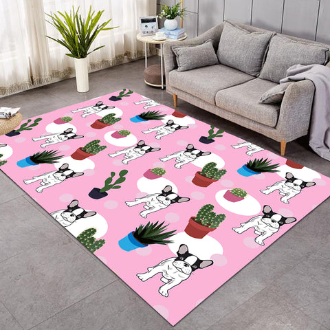 Image of Pup & Cacti Pattern Pink SW0513 Rug
