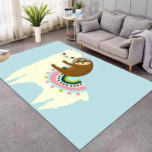 Llama Sloth Light Blue SW1662 Rug