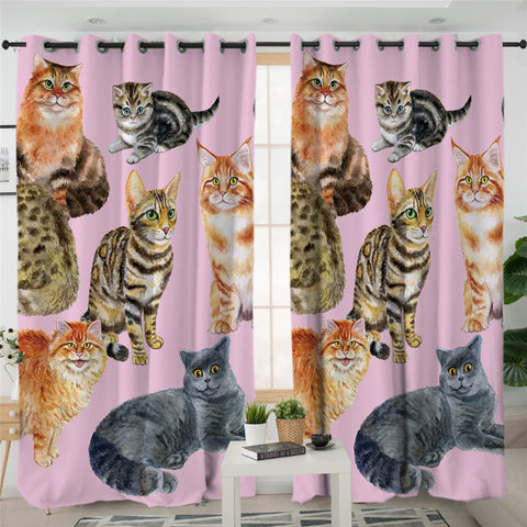 3D Cats Pink Curtains