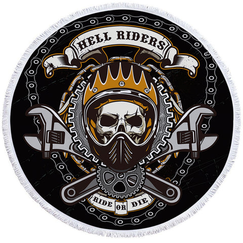 Image of Mechanic Hell Rider Round Beach Towel Set - Beddingify