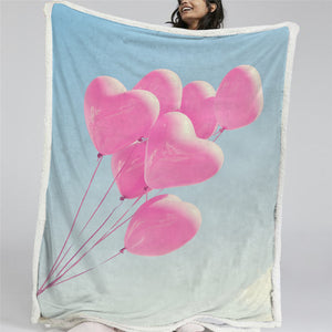 Adorable Pink Balloons Sherpa Fleece Blanket