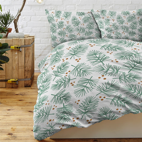 Image of Conifer Leaf Pattern White Bedding Set - Beddingify