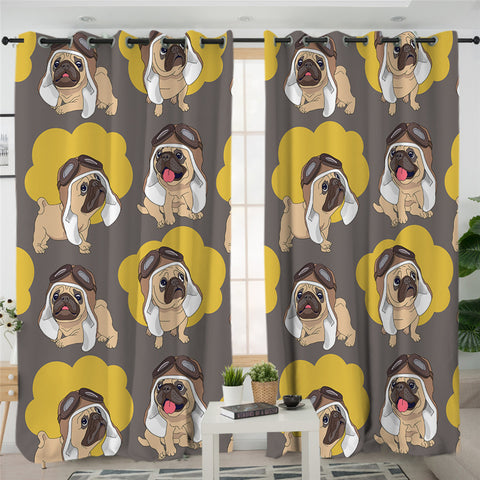 Yellow & Brown Pugs 2 Panel Curtains