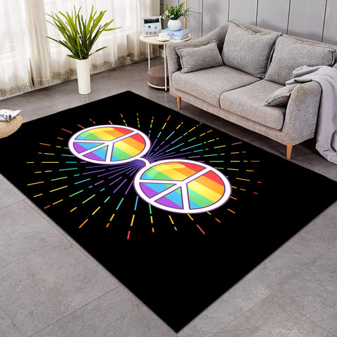 Image of Peace Glasses Black SW0308 Rug