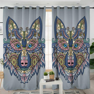 Maori Wolf Gray 2 Panel Curtains