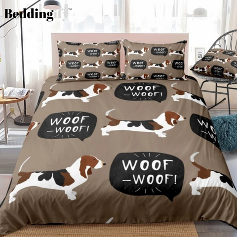 Image of Basset Dog Comforter Set - Beddingify