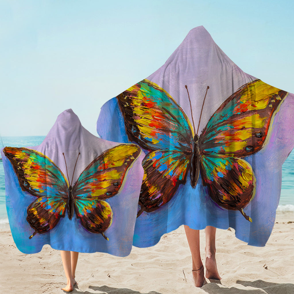 Multi-colored Butterfly Hooded Towel
