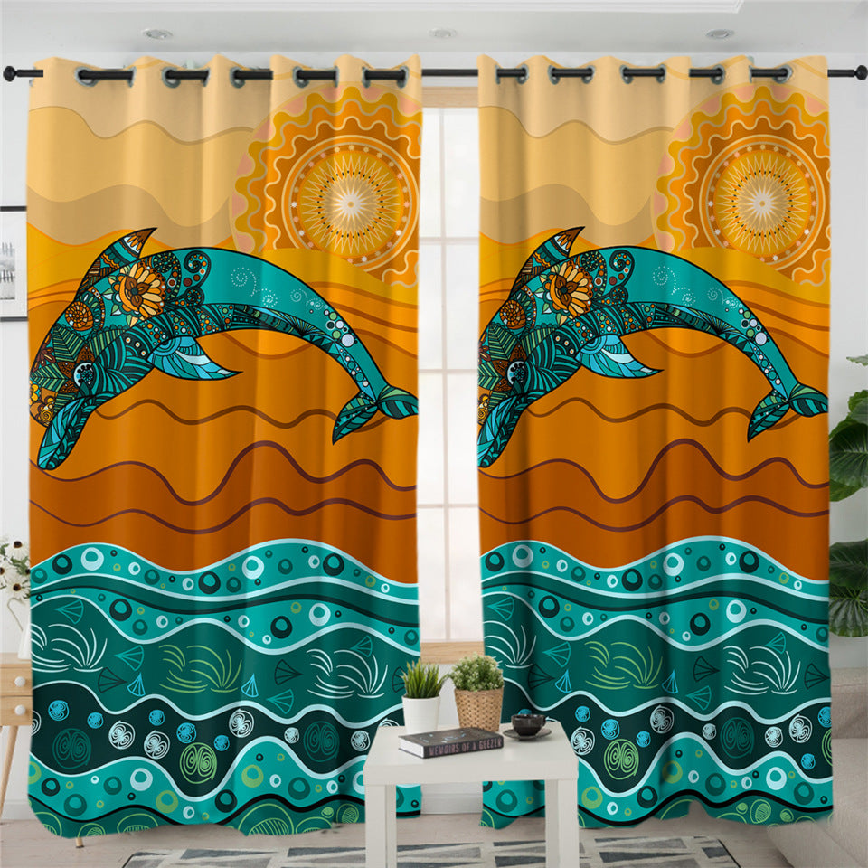 Stylized Dolphin 2 Panel Curtains