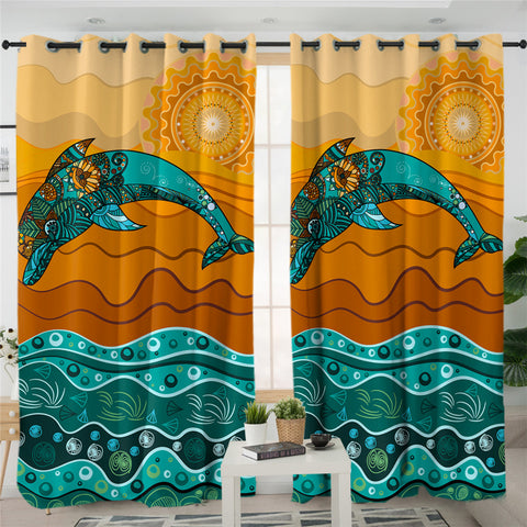 Image of Stylized Dolphin 2 Panel Curtains