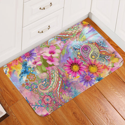Image of Colorful Floral Door Mat